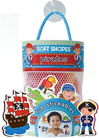 Innovative Kids Soft Shapes Illustration Tub Stickables Pirates Playset Fun-filled sticker sets made entirely of child-safe, durable, washable foam, for on-the-go or in the bath fun and learning Contains 20 chunky colorful, illustrated bath stickers that float in water and stick to the tub