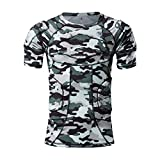TUOY Men's Padded Compression T Shirt Shorts Chest Shoulder Rib Hip Protector Football Basketball Paintball Contact Sports (Camouflage)