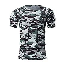 DGYAO Men's Boys Camouflage Color Safe Guard Padded Compression T-shirt Protective Short Sleeve Tee Shirt Rib Chest Protector Suit for Paintball Skateboard Skiing Parkour Contact Sports