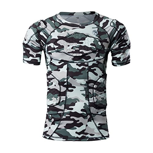 - TUOY Men's Padded Compression T-Shirt Short Sleeve Shirt Rib Chest Shoulder Protector Safe Guard (Camouflage)(T-Shirt XXL)