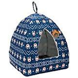 Hollypet Self-Warming 2 in 1 Foldable Comfortable Triangle Cat Bed Tent House - Blue Deer