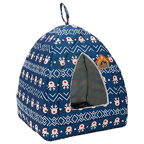 Mat Pet Thermal Slumber Cat - Hollypet Self-Warming 2 in 1 Foldable Comfortable Triangle Cat Bed Tent House, Blue Deer