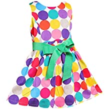Colorful Polka Dot Toddler Dress with Belt 3-4 Years Old WHITE