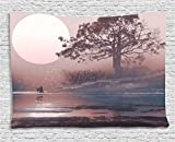 Ambesonne Fantasy House Decor Collection, Love Couple on the Horizon with Full Moon and Majestic Tree over the Lake Romance Print, Bedroom Living Room Dorm Wall Hanging Tapestry, 60W X 40L Inch, Mauve