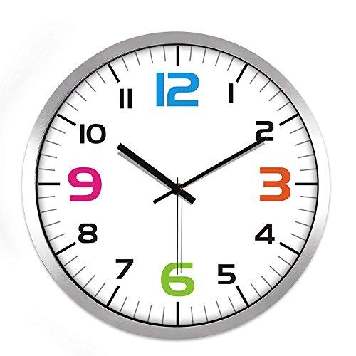 TNKML Large Indoor Decorative Wall Clock Color Digital Classic Living Room Kitchen Quartz Clock Quartz Watch, 12