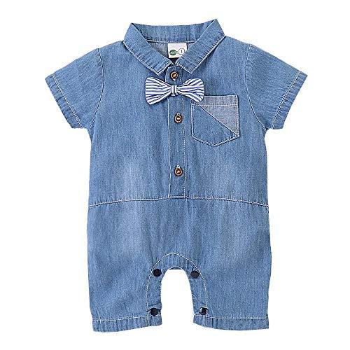 YOUNGER TREE Toddler Baby Boy Denim Romper Jumpsuit Outfits Tie Cute Clothes Denim Shorts (0-3 Months, Deinm Bowtie Romper)