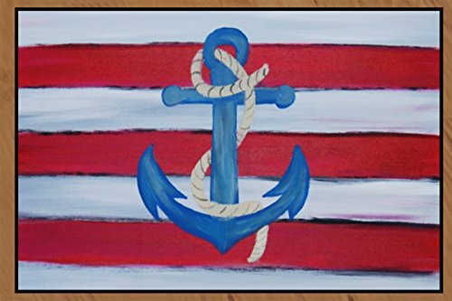 - Anchor art nautical patio indoor outdoor door floor mat (24 x 36 Med)