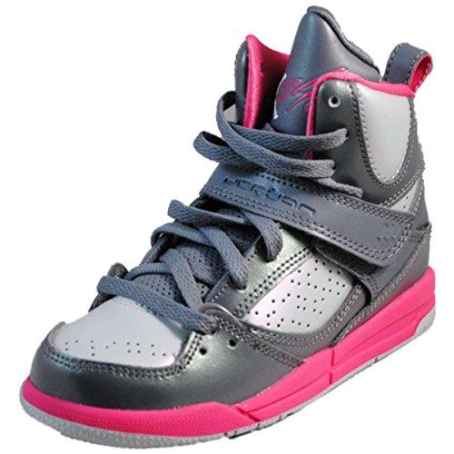 Jordan Flight 45 High Black/Vivid Pink-Vivid Pink-White (10.5 M US Little Kid) Cool Grey / White-metallic Platinum-dynamic Pink