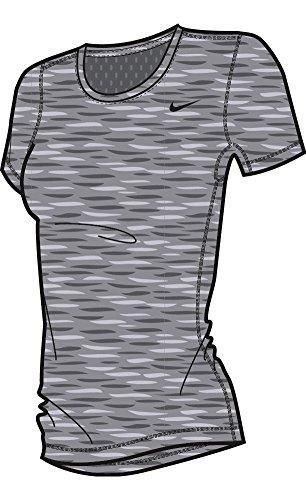 Nike Women's Pro Cool Short Sleeve Shirt Dark Grey/Heather/Black (Nike Dri