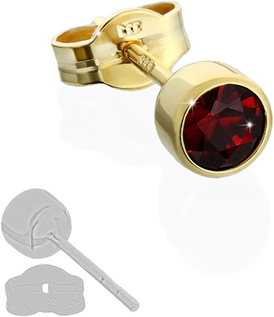 NKlaus Single Ohrstecker Gold 333er 4,50mm echt Granat Damen Herren Kinder 6717