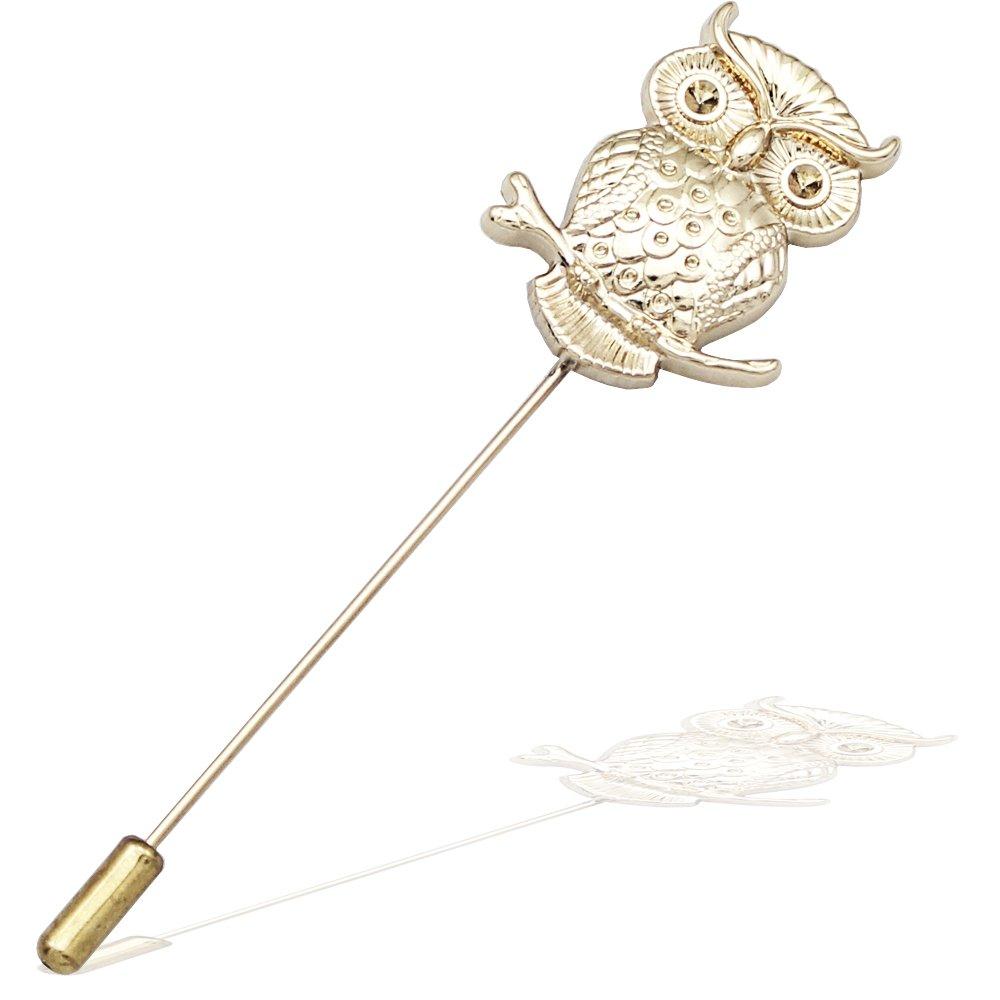 Q& Q Fashion Art Nouveau Greek Wisdom Owl Gold Lapel Brooch Tie Hat Scarf Stick Pin Badge 80485