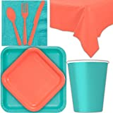 Disposable Party Supplies for 28 Guests - Caribbean Teal and Coral - Square Dinner Plates, Square Dessert Plates, Cups, Lunch Napkins, Cutlery, and Tablecloths: Premium Quality Tableware Set