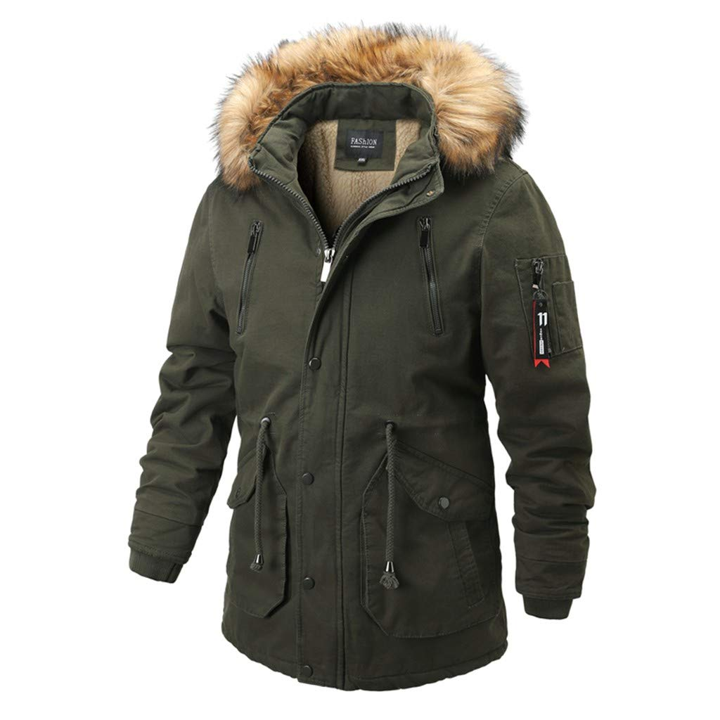 for Men in Autumn and Winter Drawstring Medium and Long Thicker Cotton Fleece Lined Coat Army Green by Han1dsome tops