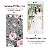 iPhone 6S Case,iPhone 6 Case for Girls Women,Floral Flower Cute Design Soft Silicone Clear Bumper Protective Phone Case with Pink Flowers + Gray Leaves Pattern for iPhone6S / 6