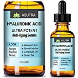 ASUTRA 2 Bottle Value Pack - HYALURONIC ACID Anti Aging Serum - ULTRA HYDRATING & EFFECTIVE/With Vitamin E & C, Geranium Oil, Green Tea Extract, Aloe & Jojoba + FREE E-Book