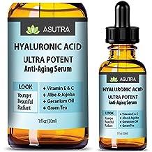 HYALURONIC ACID Anti Aging Serum - ULTRA HYDRATING & EFFECTIVE / With Vitamin E & C, Geranium Oil, Green Tea Extract, Aloe & Jojoba + FREE E-Book (one 1oz bottle)