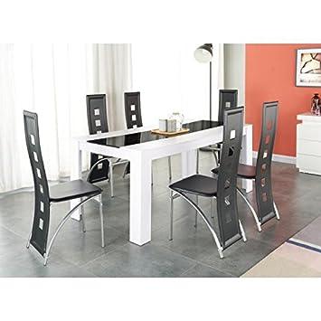 Générique Damia Ensemble Table a Manger 180x90 cm + 6 chaises en Simili -  Blanc et Noir