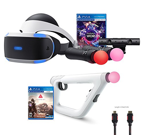 PlayStation VR Launch Bundle 3 Items:VR Launch Bundle,PSVR Aim Controller Farpoint Bundle,Mytrix HDMI Cable by Sony VR