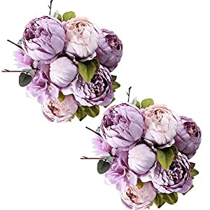 Fule 2 Pack Large Artificial Peony Silk Flower Bouquets Arrangement Wedding Centerpieces (New Purple) 100
