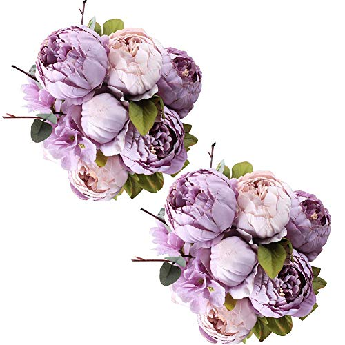 (Fule 2 Pack Large Artificial Peony Silk Flower Bouquets Arrangement Wedding Centerpieces (New Purple))