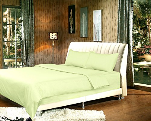 Tache 2 Piece Solid Light Pea Sage Green Duvet Cover Set, Twin Xl