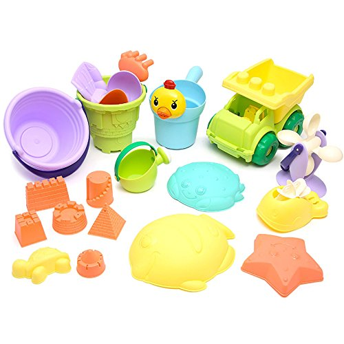 Lanlan Kids 13Pieces Beach Toy Set Non-toxic Various Shaped Sand Toy Sets with Mesh (Pebbles Costume For 1 Year Old)