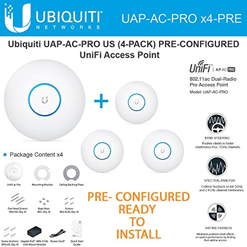 Ubiquiti Unifi UAP-AC-PRO 4-PACK PRE-CONFIGURED Dual-Radio Pro Access Point PoE by Ubiquiti Networks (Image #1)'