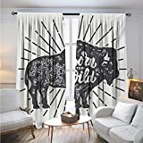 Born to Fish Shower Curtain Wild and FreeBlackout DrapesEthnic Bison with Grunge Effect Born to be Wild Quote Native AmericaDarkening Blackout Curtain W108 x L84 Charcoal Grey White