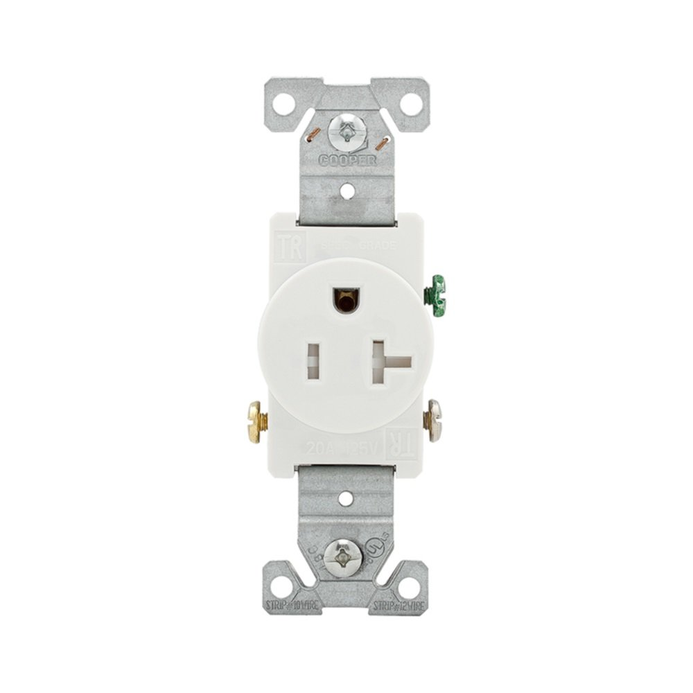 Eaton Tr1877w Bxsp 20 Amp 125 Volt Heavy Duty Grade Straight Blade Nema 6 20r Wiring Diagram Wall Single Receptacle 5 Rating White Electrical Outlets