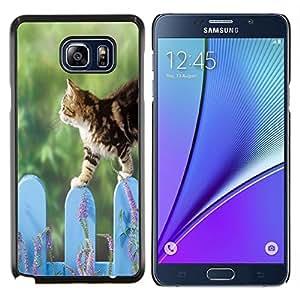 LECELL--Funda protectora / Cubierta / Piel For Samsung Galaxy Note 5 5th N9200 -- Valla Gato lindo Naturaleza Mascotas Verde --