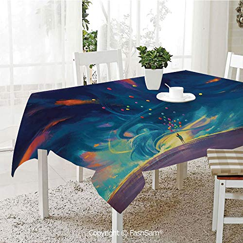 3D Print Table Cloths Cover Child Holding Balloons Standing in Front of Fantasy Storm Illustration Waterproof Stain Resistant Table Toppers(W55 xL72) ()