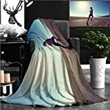 """Nalagoo Unique Custom Flannel Blankets Young Fitness Woman Runner Running On Sunrise Seaside Trail Super Soft Blanketry for Bed Couch, Twin Size 70"""" x 60"""""""