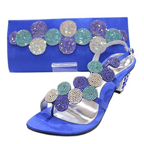amp; Femme De Marine Cristal Mariage Assorti nbsp;w Bleu nbsp; W mizra amp; nbsp;paras Sac Chaussures Strass Taille nbsp; Pour Et HwnIva