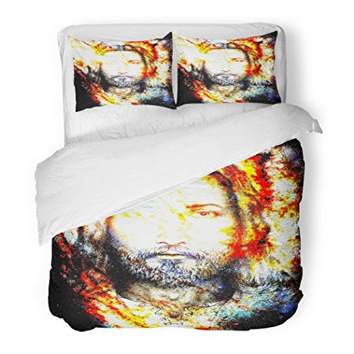 SanChic Duvet Cover Set Ancient Jesus Christ Painting with Radiant Colorful Energy of Light Eye Contact Angel Decorative Bedding Set with 2 Pillow Shams Full/Queen Size by SanChic