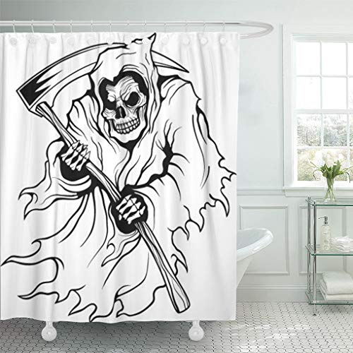 Emvency Shower Curtain Death Grim Reaper Sickle Skeleton Affliction Halloween Horror Shower Curtains Sets with Hooks 72 x 72 Inches Waterproof Polyester Fabric