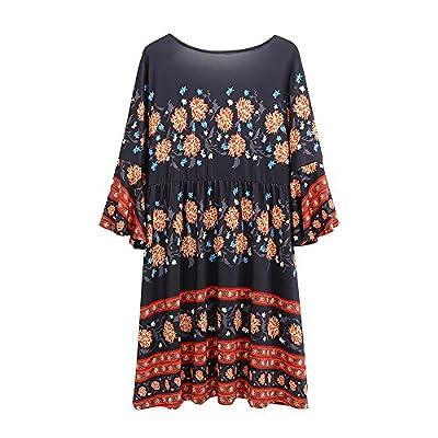 Ktrend Women's Deep V Neck Bell Sleeve Floral Boho Shift Dress
