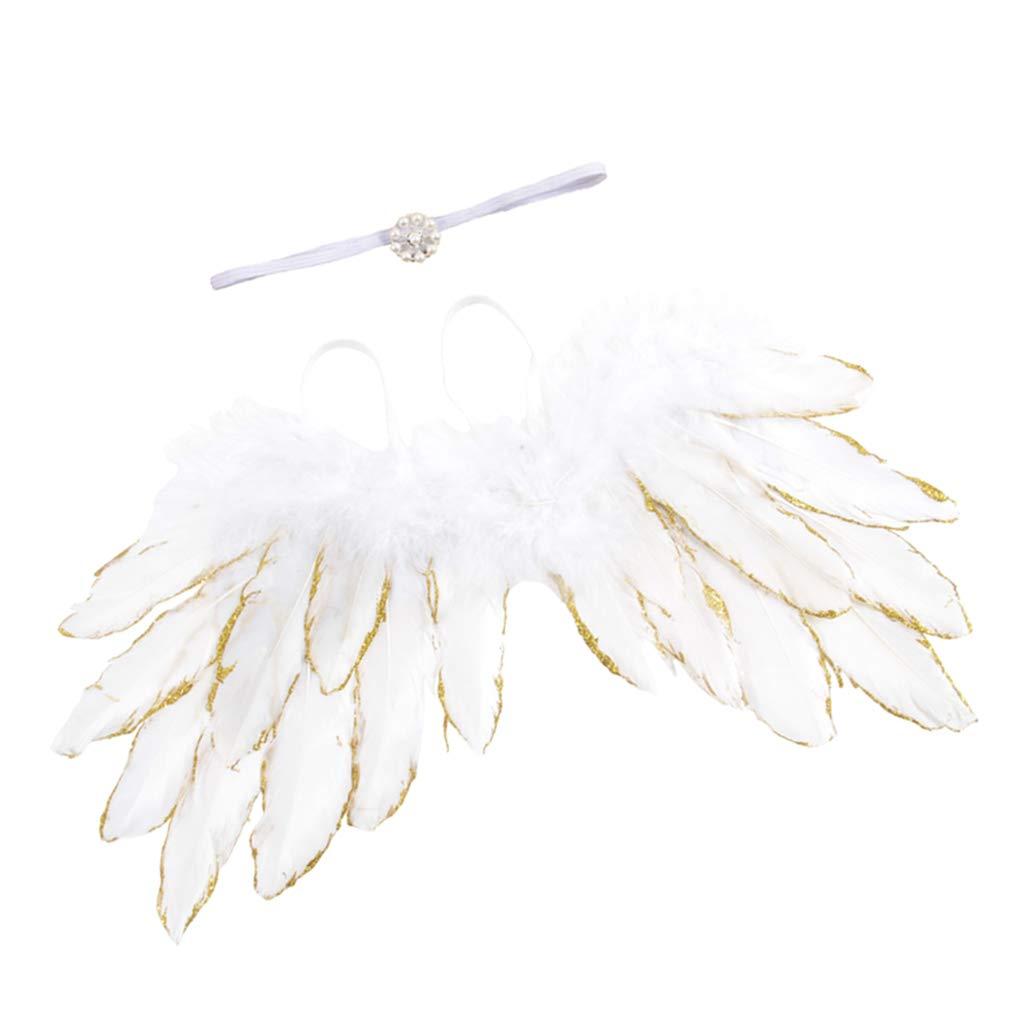 Golden LOVIVER Baby Newborn Winkel Feder-Fl/ügel und Blumen Stirnband Fotografie Prop Kind Kleidung