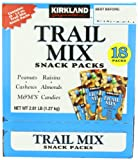 Kirkland Signature Trail Mix Snack Packs, Peanuts, M&M's Candies, Raisins, Almonds, Cashews, 2.5 oz, 18 ct