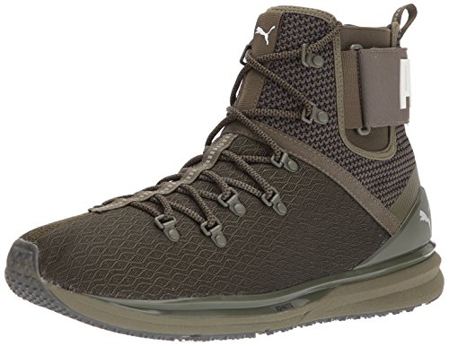 Sneaker Boot - PUMA Men's Ignite Limitless Boot Sneaker, Olive Night-High Risk Red, 8 M US