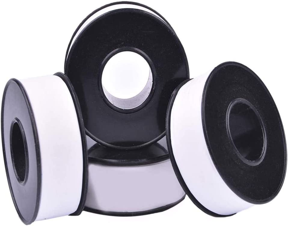 White Angle Valve Installation PTFE Pipe Thread Seal Tape for Plumbers Plumbing 12 Rolls Plumbers Thread Tape