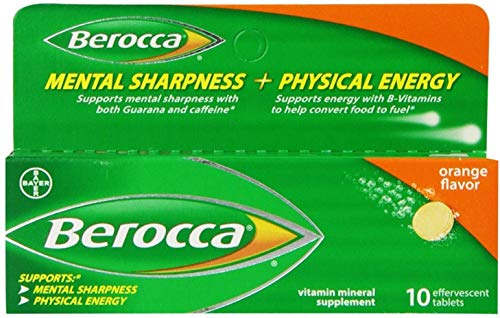 Berocca Orange Flavor Vitamin Mineral Supplement Effervescent Tablets, 10 ea (Pack of 10) Review
