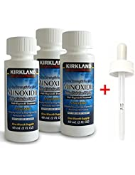 Kirkland Signature Minoxidil Hair Regrowth Solution For Men - 3 Month Supply ,Package Includes Child-Resistant Dropper Applicator