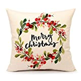 4TH Emotion Merry Christmas Berry Wreath Throw Pillow Cover Cushion Case for Sofa Couch 18