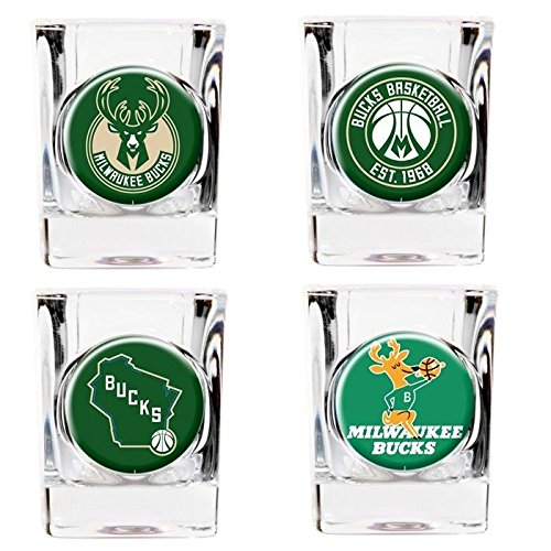 Milwaukee Bucks 4pc Collector's Shot Glass - Great Bucks American Milwaukee