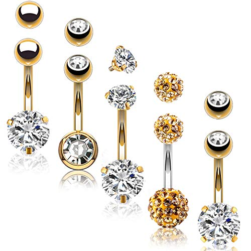 (BodyJ4You 5PC Belly Button Rings 14G Goldtone Stainless Steel CZ Navel Body Piercing Jewelry Set )