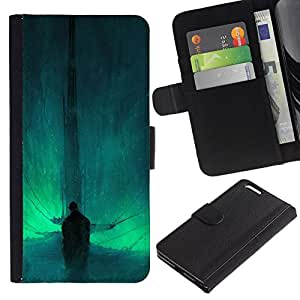 NEECELL GIFT forCITY // Billetera de cuero Caso Cubierta de protección Carcasa / Leather Wallet Case for Apple Iphone 6 PLUS 5.5 // Resumen Bat