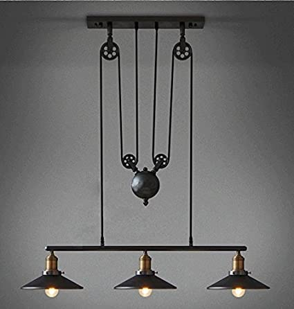 industrial pulley pendant light vintage american edison retro industrial pulley lifting pendant light