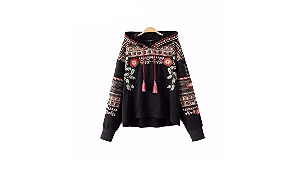 Virtual Store USA Vintage totem geometric embroidery hooded sweatshirt oversized sequined long sleeve pullover casual tops sudaderas SW1211 at Amazon ...