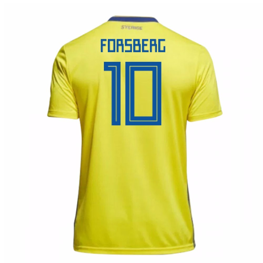 2018-19 Sweden Home Football Soccer T-Shirt Trikot (Emil Forsberg 10) - Kids