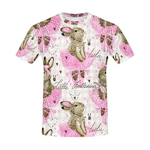 InterestPrint Funny Watercolor Ballerina Bunny in Ballet Shoes Classic Short-Sleeve All Over Print Men's T-Shirt